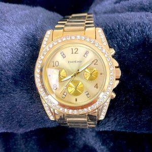 NWOT BEBE gold tone watch rhinestones